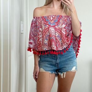 On the road Lima strapless top tassels red shirt